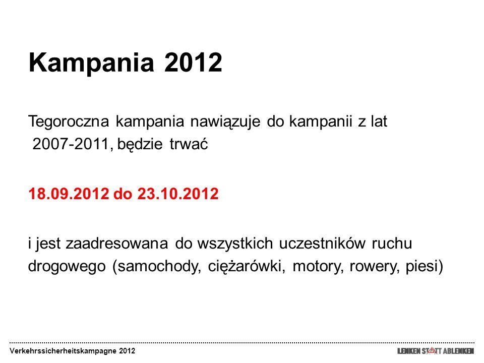 Kampania 2012 Tegoroczna kampania nawiązuje do kampanii z lat 2007-2011, będzie trwać 18.09.2012 do 23.10.2012 i jest zaadresowana do wszystkich uczes