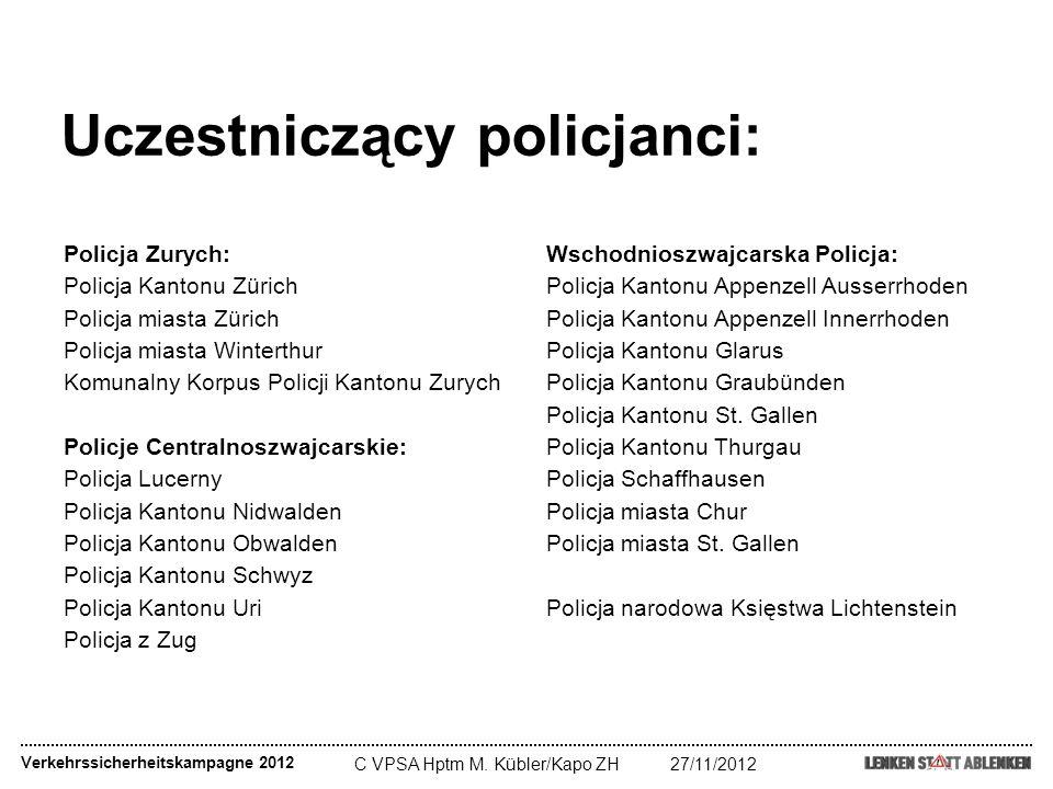 C VPSA Hptm M. Kübler/Kapo ZH27/11/2012 Uczestniczący policjanci: Policja Zurych: Policja Kantonu Zürich Policja miasta Zürich Policja miasta Winterth
