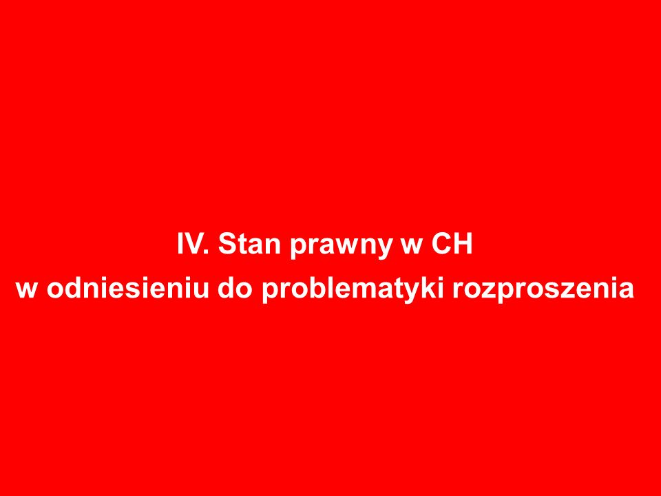 IV. Stan prawny w CH w odniesieniu do problematyki rozproszenia