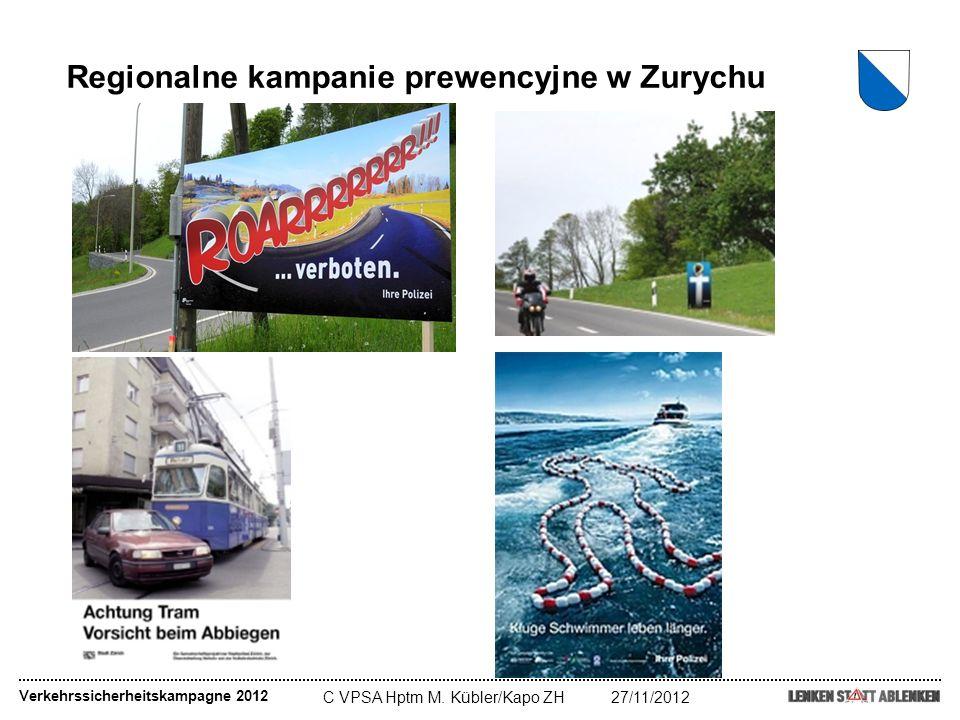 C VPSA Hptm M. Kübler/Kapo ZH27/11/2012 Verkehrssicherheitskampagne 2012 Regionalne kampanie prewencyjne w Zurychu