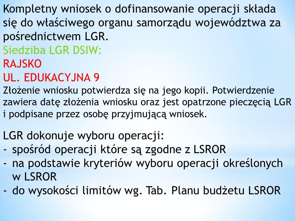 Kompletny wniosek o dofinansowanie operacji składa się do właściwego organu samorządu województwa za pośrednictwem LGR.