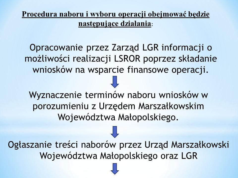 Procedura naboru i wyboru operacji obejmować będzie następujące działania : Opracowanie przez Zarząd LGR informacji o możliwości realizacji LSROR poprzez składanie wniosków na wsparcie finansowe operacji.
