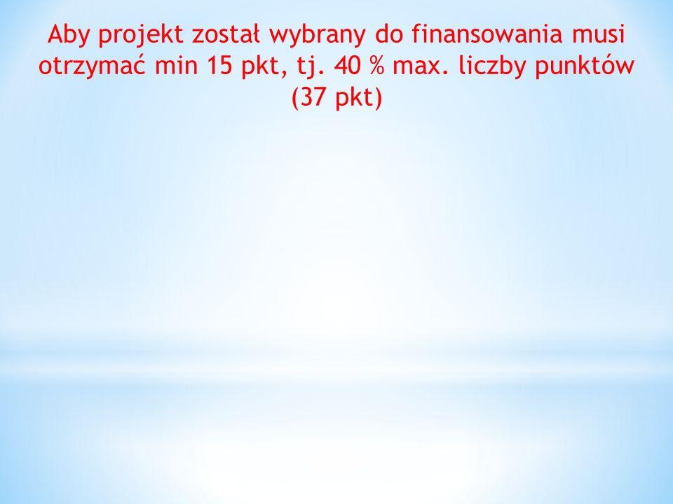 Aby projekt został wybrany do finansowania musi otrzymać min 15 pkt, tj.
