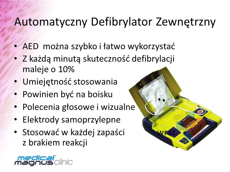 Automatyczny Defibrylator Zewnętrzny AED można szybko i łatwo wykorzystać Z każdą minutą skuteczność defibrylacji maleje o 10% Umiejętność stosowania