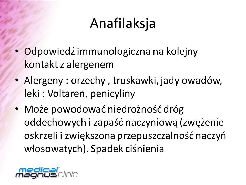 Anafilaksja Odpowiedź immunologiczna na kolejny kontakt z alergenem Alergeny : orzechy, truskawki, jady owadów, leki : Voltaren, penicyliny Może powod