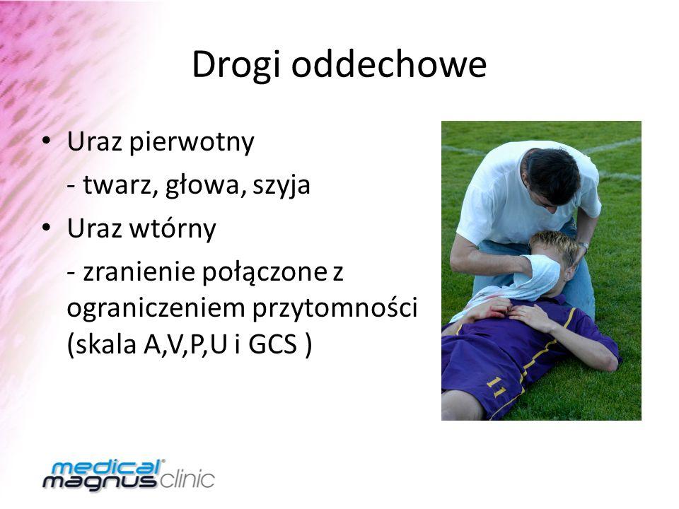 Drogi oddechowe Uraz pierwotny - twarz, głowa, szyja Uraz wtórny - zranienie połączone z ograniczeniem przytomności (skala A,V,P,U i GCS )