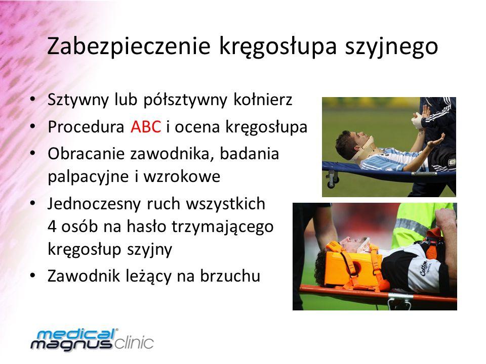 Zabezpieczenie kręgosłupa szyjnego Sztywny lub półsztywny kołnierz Procedura ABC i ocena kręgosłupa Obracanie zawodnika, badania palpacyjne i wzrokowe
