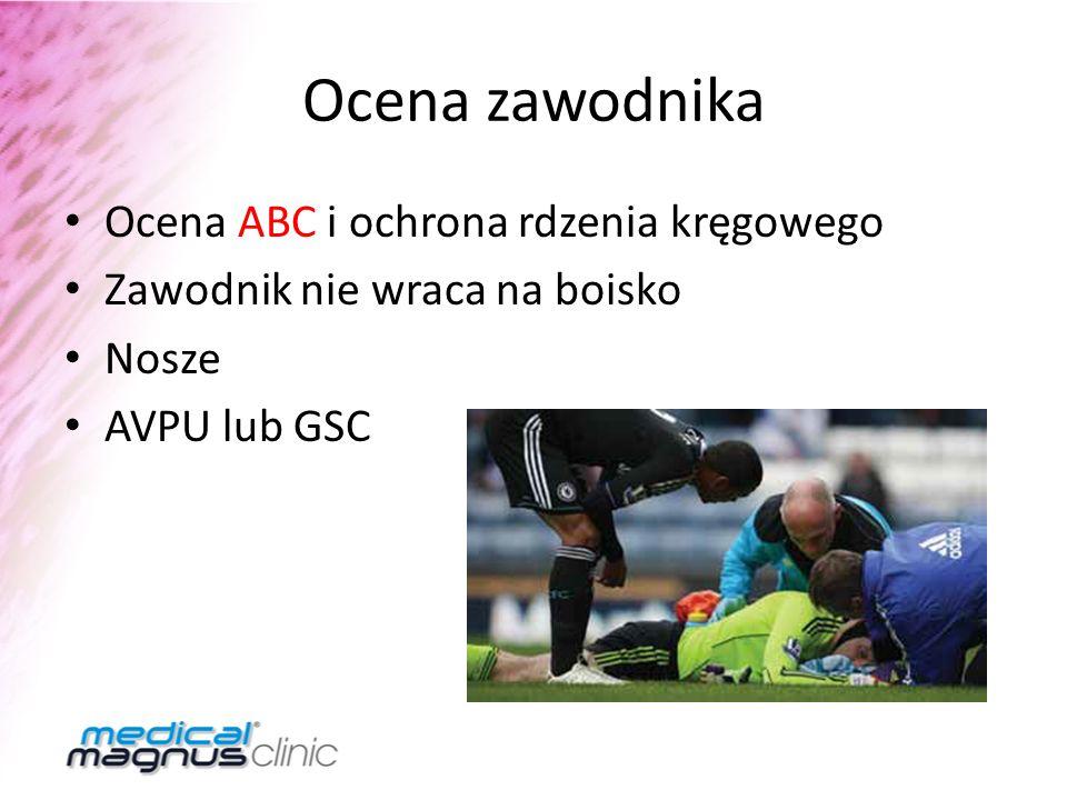 Ocena zawodnika Ocena ABC i ochrona rdzenia kręgowego Zawodnik nie wraca na boisko Nosze AVPU lub GSC