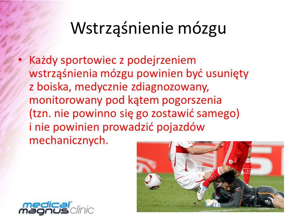 Wstrząśnienie mózgu Każdy sportowiec z podejrzeniem wstrząśnienia mózgu powinien być usunięty z boiska, medycznie zdiagnozowany, monitorowany pod kąte