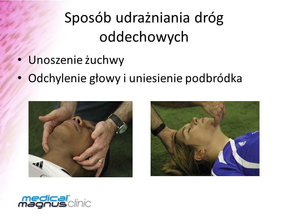 Sposób udrażniania dróg oddechowych Unoszenie żuchwy Odchylenie głowy i uniesienie podbródka