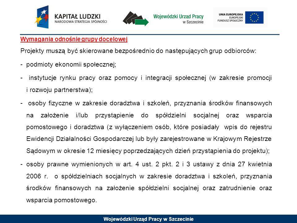 Wojewódzki Urząd Pracy w Szczecinie Wymagania odnośnie grupy docelowej Projekty muszą być skierowane bezpośrednio do następujących grup odbiorców: - p
