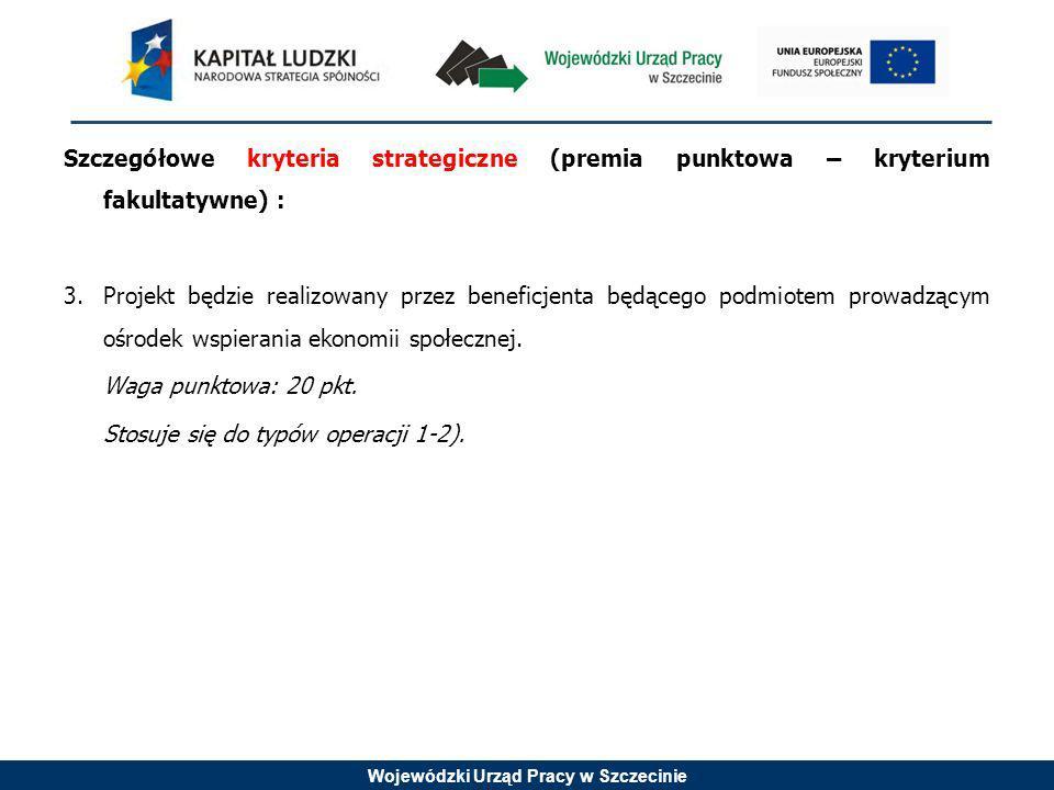Wojewódzki Urząd Pracy w Szczecinie Szczegółowe kryteria strategiczne (premia punktowa – kryterium fakultatywne) : 3.Projekt będzie realizowany przez