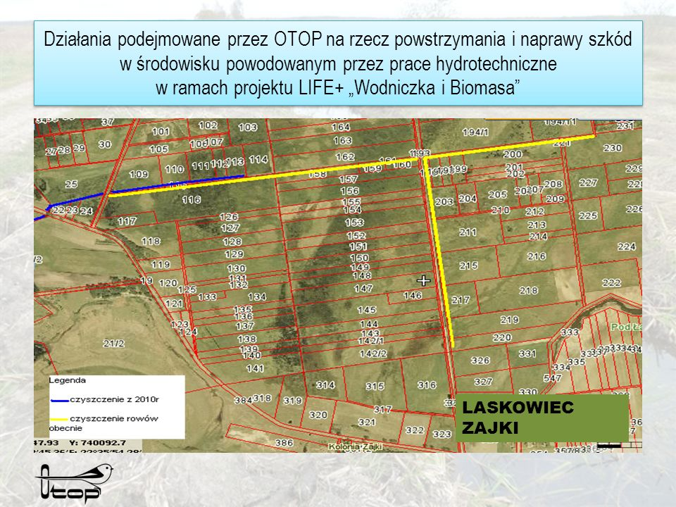Działania podejmowane przez OTOP na rzecz powstrzymania i naprawy szkód w środowisku powodowanym przez prace hydrotechniczne w ramach projektu LIFE+ Wodniczka i Biomasa Obszar przyrodniczy Laskowiec-Zajki to łąki torfowe zajmujące powierzchnię ok.