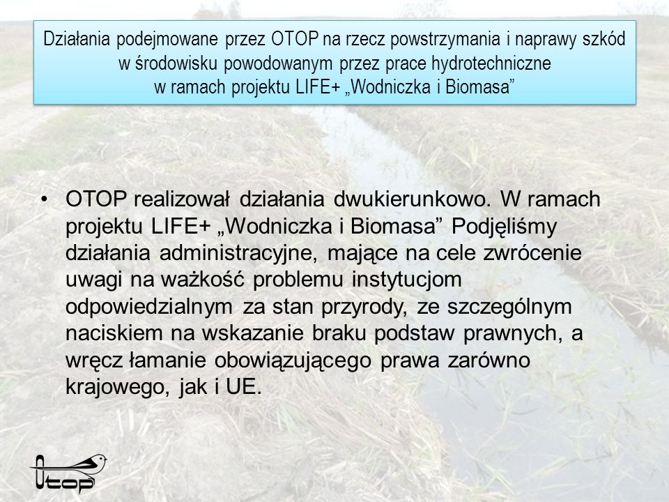 Działania podejmowane przez OTOP na rzecz powstrzymania i naprawy szkód w środowisku powodowanym przez prace hydrotechniczne w ramach projektu LIFE+ Wodniczka i Biomasa Maj 2011 zgłoszenie przez OTOP wystąpienia bezpośredniego zagrożenia szkodą w środowisku (w gatunkach chronionych, chronionych siedliskach przyrodniczych i wodach) Czerwiec – RDOŚ próbuje znaleźć właścicieli działek.
