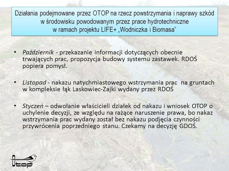 Działania podejmowane przez OTOP na rzecz powstrzymania i naprawy szkód w środowisku powodowanym przez prace hydrotechniczne w ramach projektu LIFE+ Wodniczka i Biomasa Październik - przekazanie informacji dotyczących obecnie trwających prac, propozycja budowy systemu zastawek.