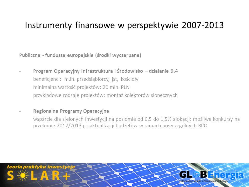 Instrumenty finansowe w perspektywie 2007-2013 Publiczne - fundusze europejskie (środki wyczerpane) -Program Operacyjny Infrastruktura i Środowisko –