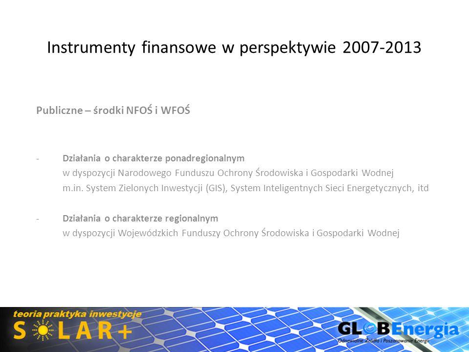 Instrumenty finansowe w perspektywie 2007-2013 Publiczne – środki NFOŚ i WFOŚ -Działania o charakterze ponadregionalnym w dyspozycji Narodowego Fundus