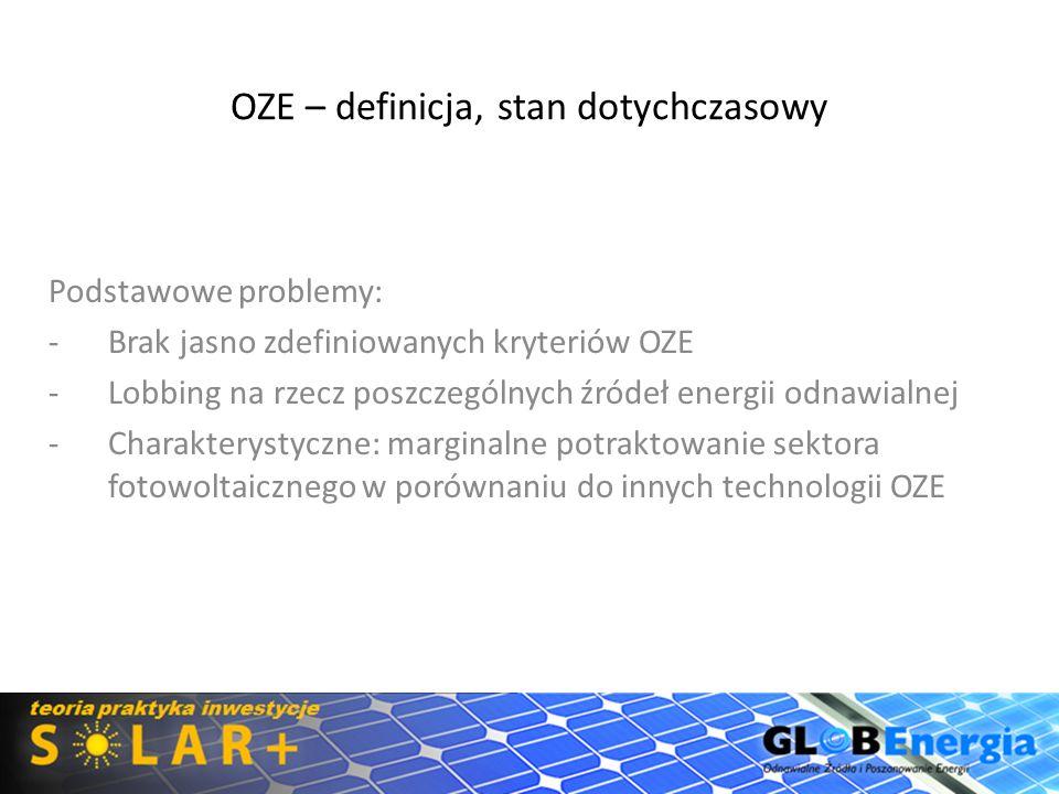 OZE - definicja, stan dotychczasowy Brak jednoznacznej definicji OZE OZE to źródła, których wykorzystywanie nie wiąże się z długofalowym zmniejszaniem zasobów a ich pozyskiwanie wiąże się z brakiem lub bardzo niskim negatywnym oddziaływaniem na środowisko Grafika: http://zielonytelefon.eco.pl