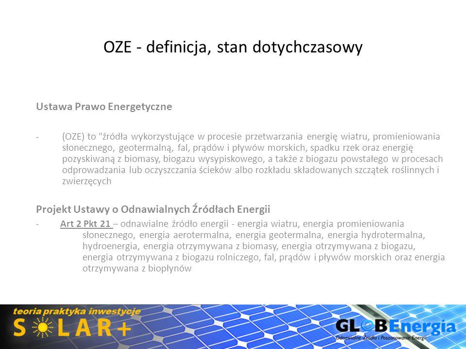 OZE - definicja, stan dotychczasowy Ustawa Prawo Energetyczne -(OZE) to