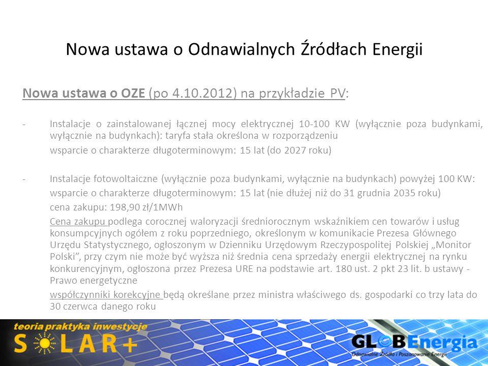 Nowa ustawa o Odnawialnych Źródłach Energii Nowa ustawa o OZE (po 4.10.2012): -Zachowano podział na instalacje do 100KW oraz powyżej 100KW -Instalacje o zainstalowanej łącznej mocy elektrycznej 10-100 KW (wyłącznie poza budynkami, wyłącznie na budynkach): taryfa stała określona w rozporządzeniu do 10 kW na dachu 1,30 zł/kWh do 10 kW przy budynku 1,15 zł/kWh 10 - 100 kW na budynku 1,15 zł/kWh 10 - 100 kW na gruncie 1,10 zł/kWh wsparcie o charakterze długoterminowym: 15 lat (do 2027 roku)