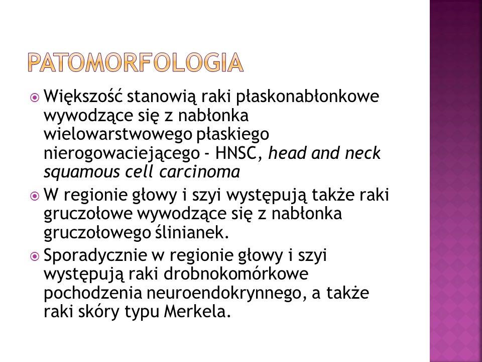 Większość stanowią raki płaskonabłonkowe wywodzące się z nabłonka wielowarstwowego płaskiego nierogowaciejącego - HNSC, head and neck squamous cell carcinoma W regionie głowy i szyi występują także raki gruczołowe wywodzące się z nabłonka gruczołowego ślinianek.