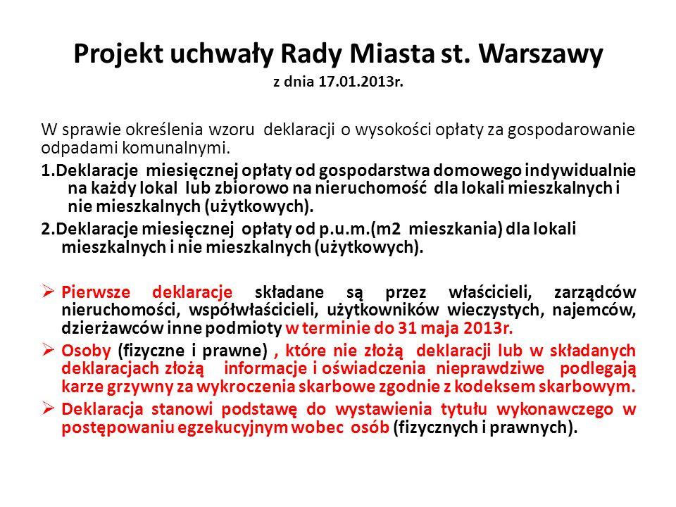 Projekt uchwały Rady Miasta st. Warszawy z dnia 17.01.2013r. W sprawie określenia wzoru deklaracji o wysokości opłaty za gospodarowanie odpadami komun