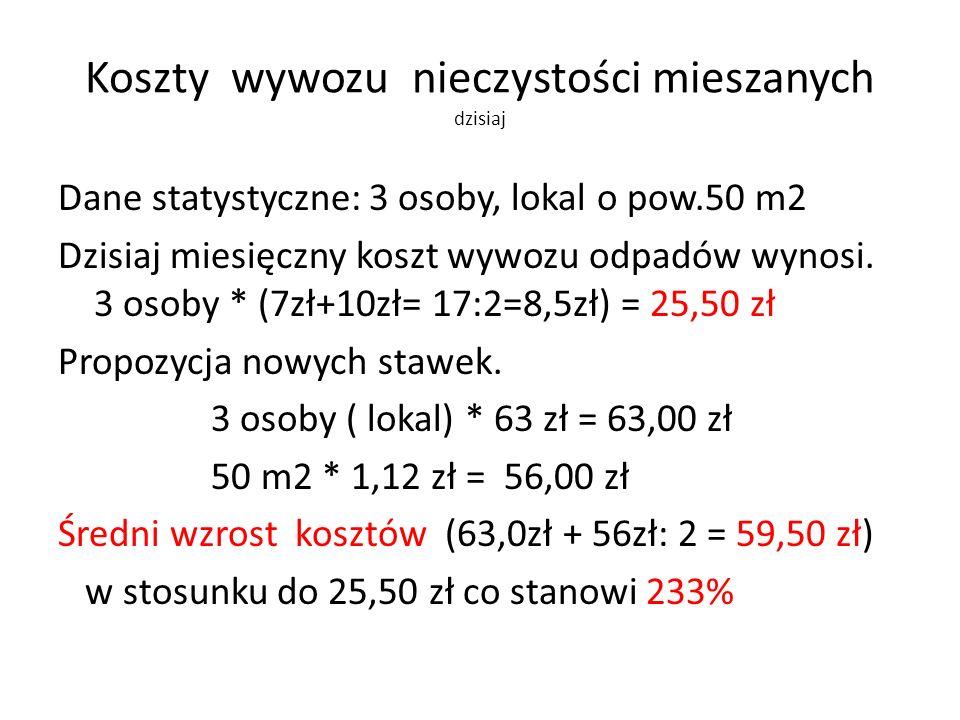 Koszty wywozu nieczystości mieszanych dzisiaj Dane statystyczne: 3 osoby, lokal o pow.50 m2 Dzisiaj miesięczny koszt wywozu odpadów wynosi. 3 osoby *