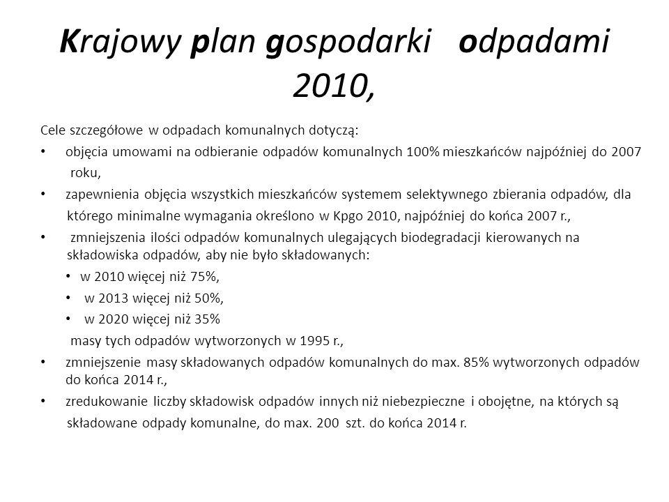 Krajowy plan gospodarki odpadami 2010, Cele szczegółowe w odpadach komunalnych dotyczą: objęcia umowami na odbieranie odpadów komunalnych 100% mieszka