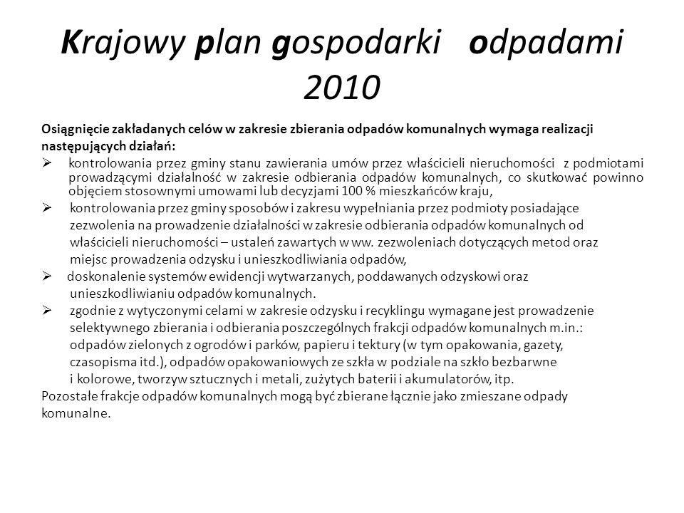 Krajowy plan gospodarki odpadami 2010 Osiągnięcie zakładanych celów w zakresie zbierania odpadów komunalnych wymaga realizacji następujących działań:
