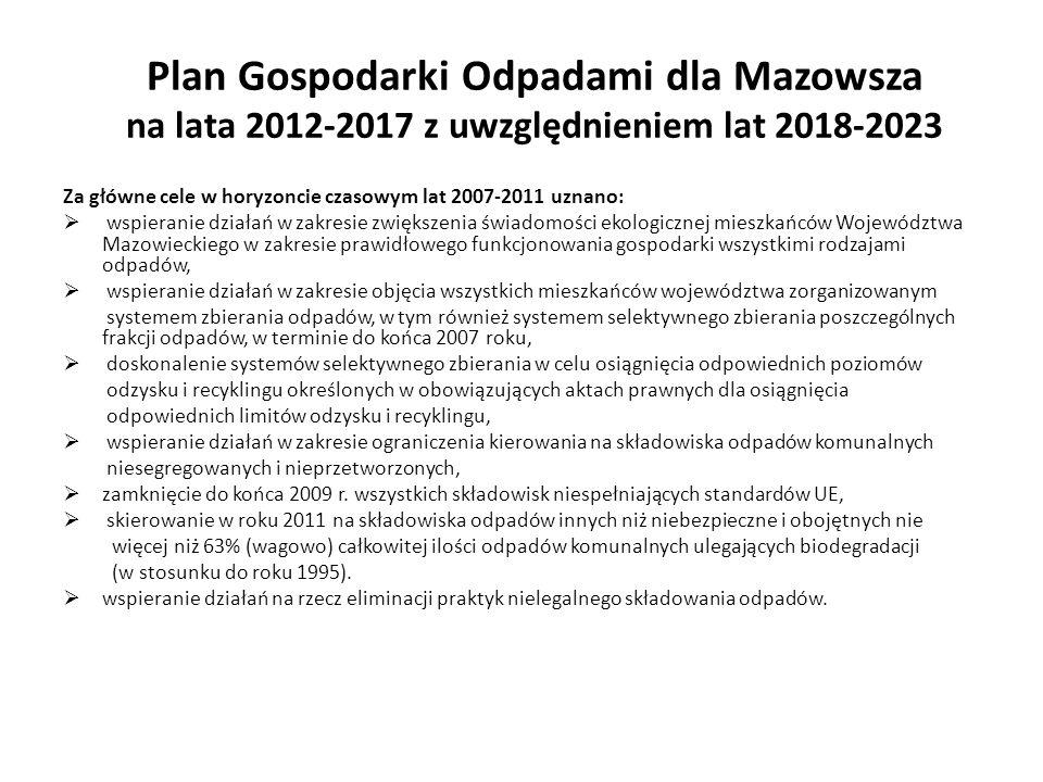 Plan Gospodarki Odpadami dla Mazowsza na lata 2012-2017 z uwzględnieniem lat 2018-2023 Za główne cele w horyzoncie czasowym lat 2007-2011 uznano: wspi