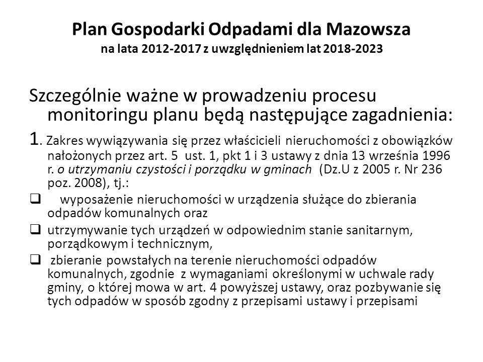 Plan Gospodarki Odpadami dla Mazowsza na lata 2012-2017 z uwzględnieniem lat 2018-2023 Szczególnie ważne w prowadzeniu procesu monitoringu planu będą