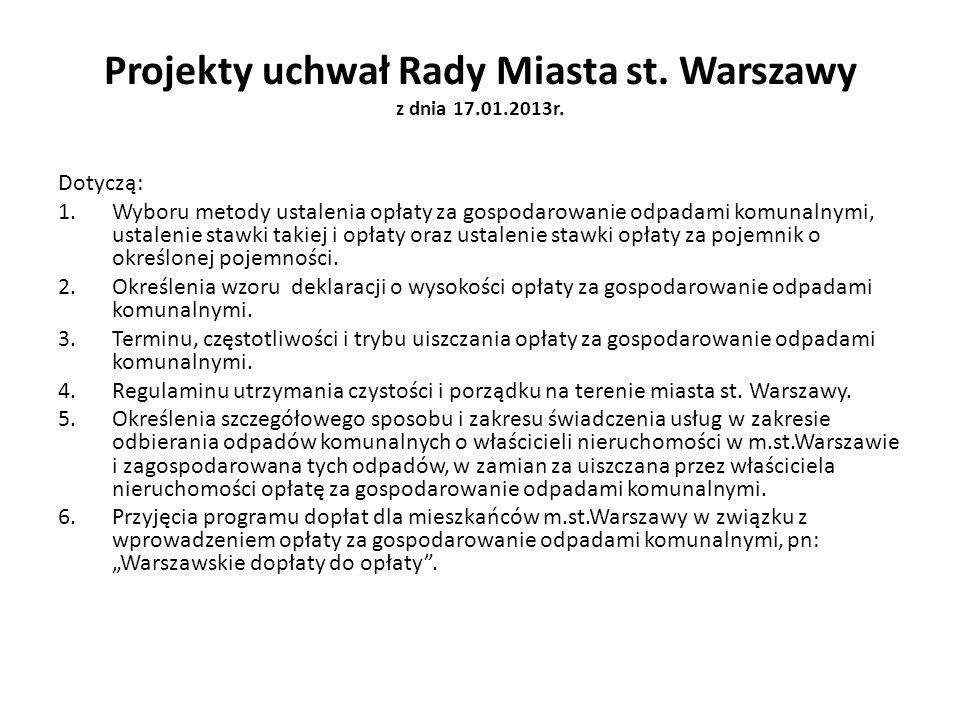 Projekty uchwał Rady Miasta st. Warszawy z dnia 17.01.2013r. Dotyczą: 1.Wyboru metody ustalenia opłaty za gospodarowanie odpadami komunalnymi, ustalen