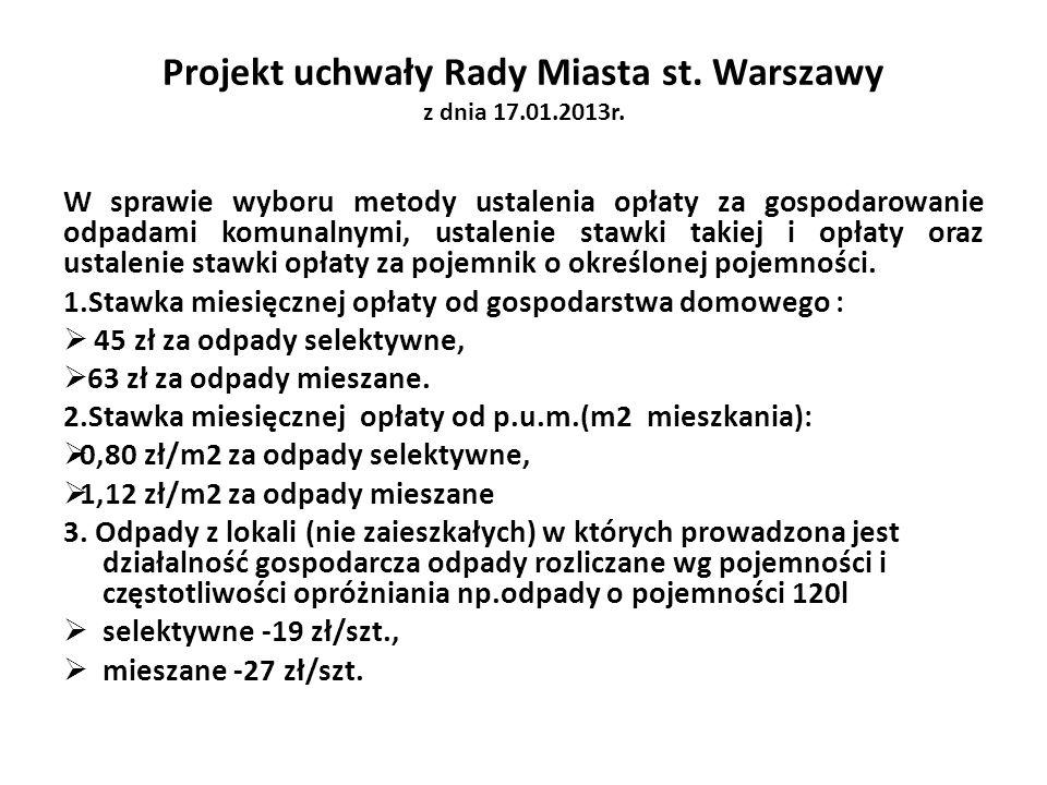 Projekt uchwały Rady Miasta st. Warszawy z dnia 17.01.2013r. W sprawie wyboru metody ustalenia opłaty za gospodarowanie odpadami komunalnymi, ustaleni