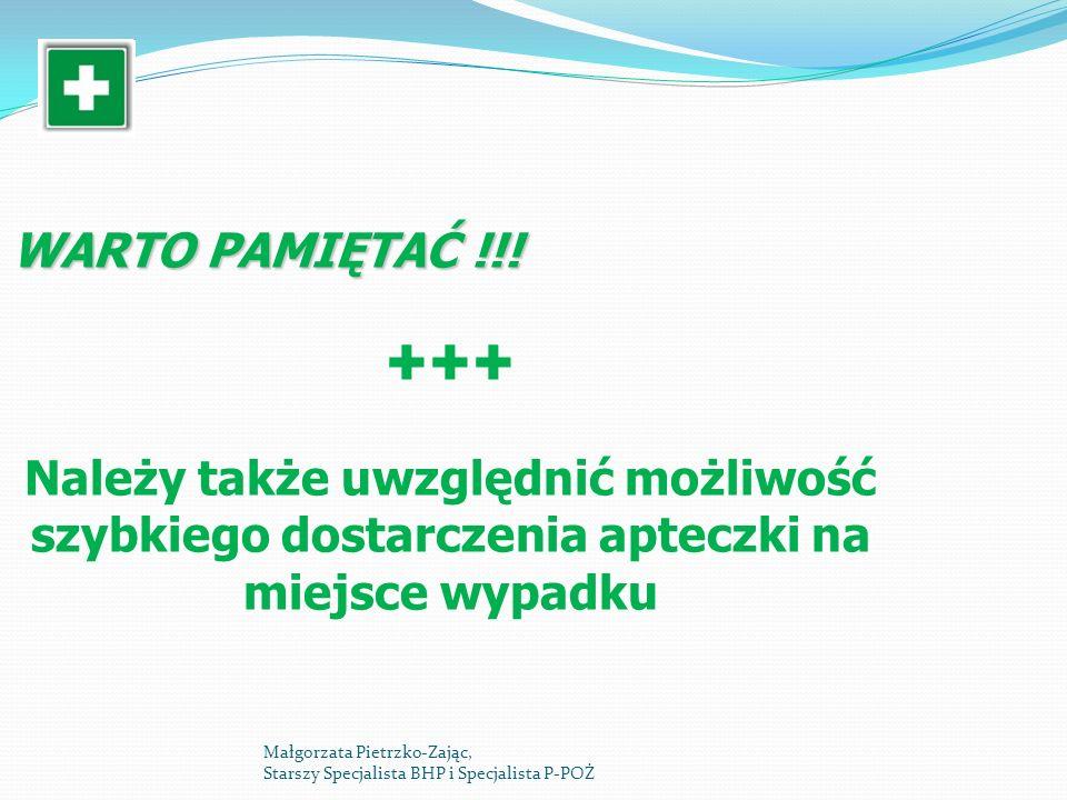 WARTO PAMIĘTAĆ !!! Należy także uwzględnić możliwość szybkiego dostarczenia apteczki na miejsce wypadku Małgorzata Pietrzko-Zając, Starszy Specjalista