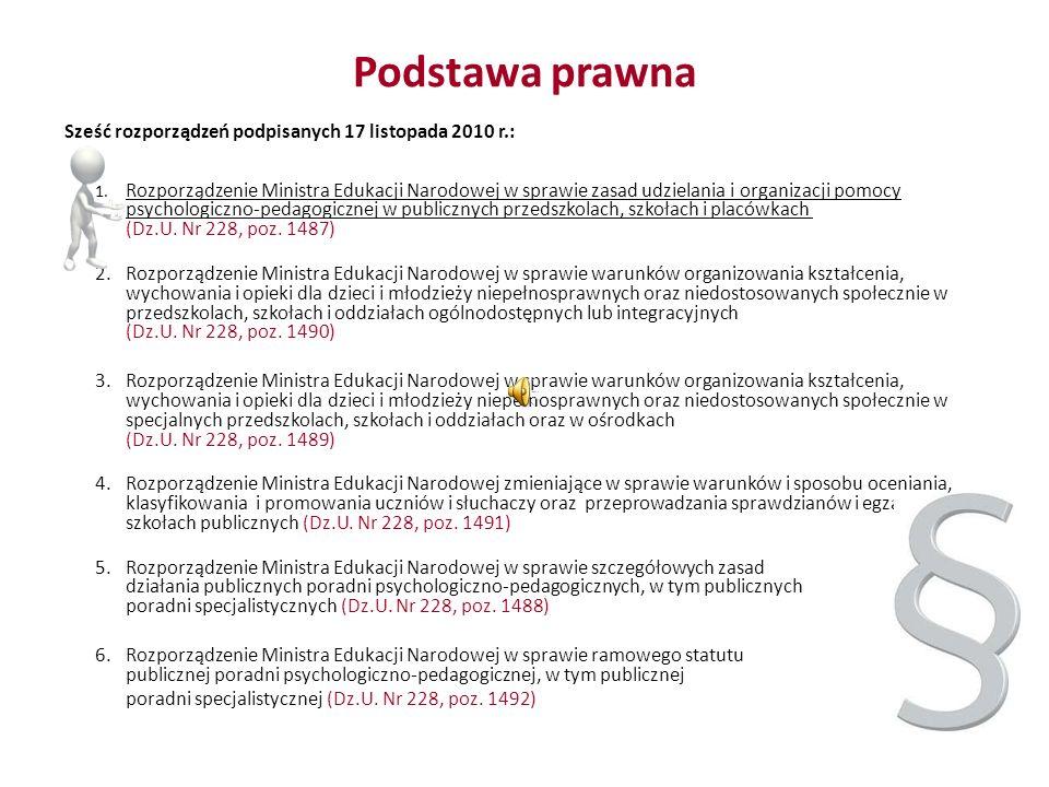 Podstawa prawna Sześć rozporządzeń podpisanych 17 listopada 2010 r.: 1. Rozporządzenie Ministra Edukacji Narodowej w sprawie zasad udzielania i organi