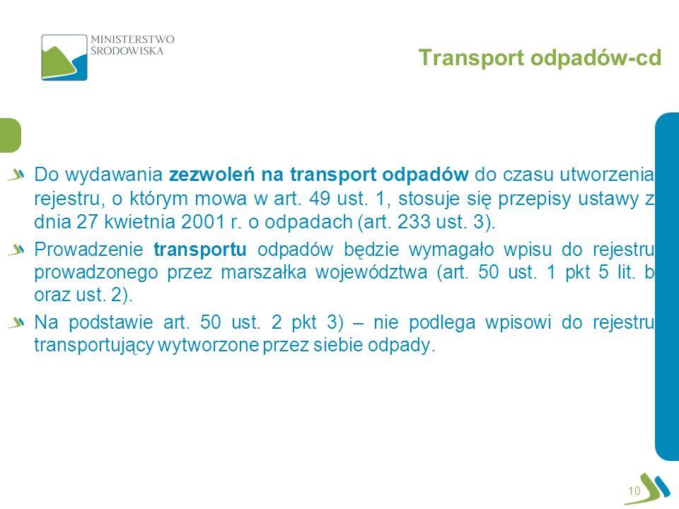 Transport odpadów-cd 10 Do wydawania zezwoleń na transport odpadów do czasu utworzenia rejestru, o którym mowa w art.