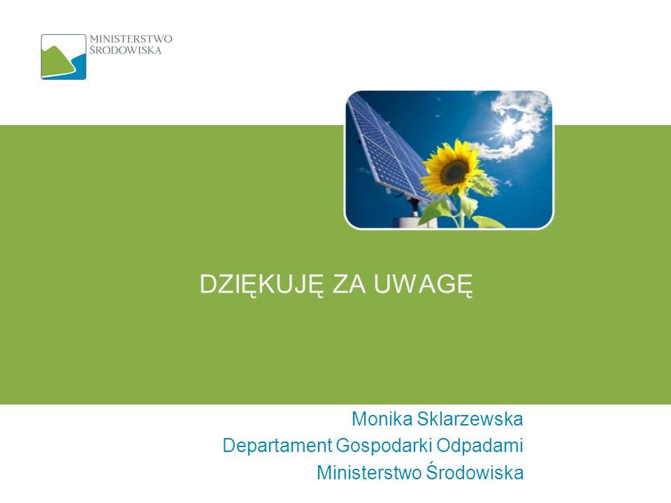DZIĘKUJĘ ZA UWAGĘ Monika Sklarzewska Departament Gospodarki Odpadami Ministerstwo Środowiska