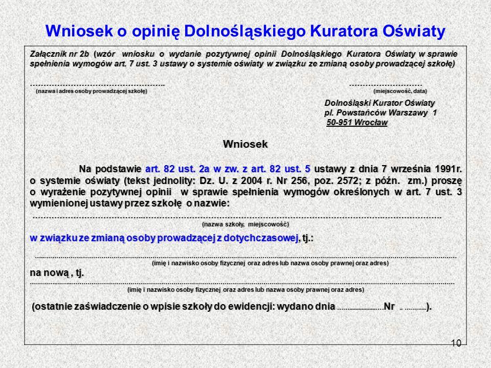 Wniosek o opinię Dolnośląskiego Kuratora Oświaty Załącznik nr 2b (wzór wniosku o wydanie pozytywnej opinii Dolnośląskiego Kuratora Oświaty w sprawie s