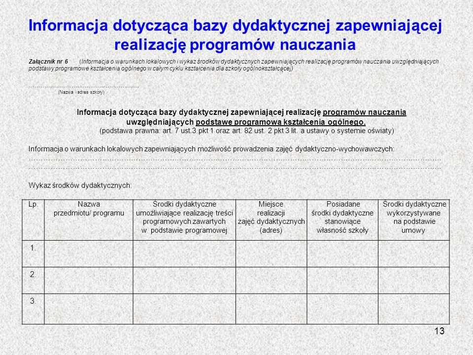 Informacja dotycząca bazy dydaktycznej zapewniającej realizację programów nauczania Lp.Nazwa przedmiotu/ programu Środki dydaktyczne umożliwiające rea