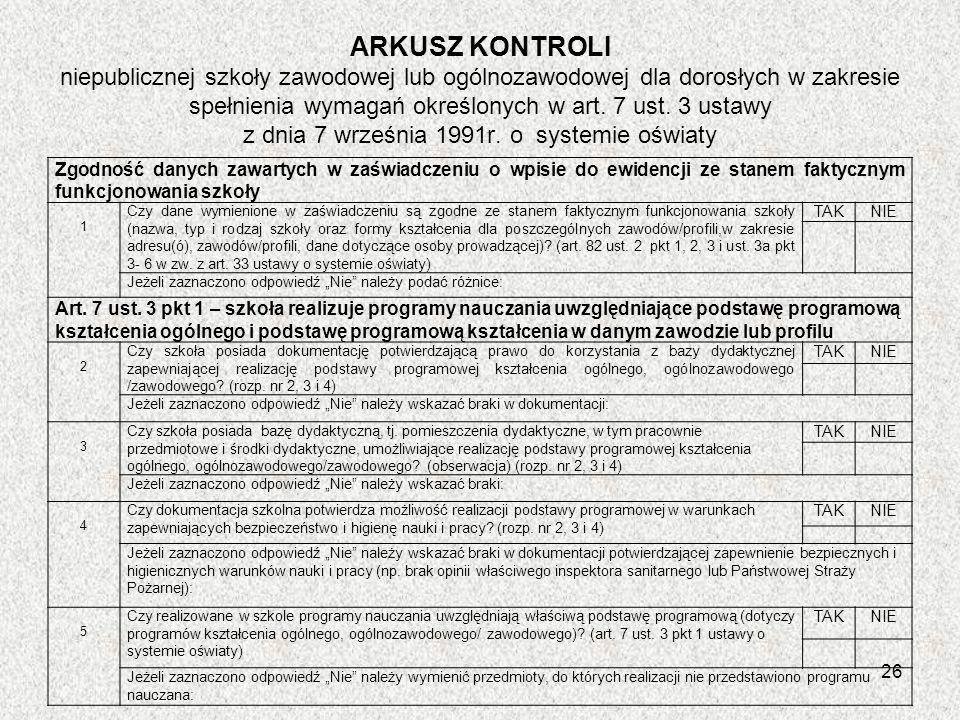 ARKUSZ KONTROLI niepublicznej szkoły zawodowej lub ogólnozawodowej dla dorosłych w zakresie spełnienia wymagań określonych w art. 7 ust. 3 ustawy z dn