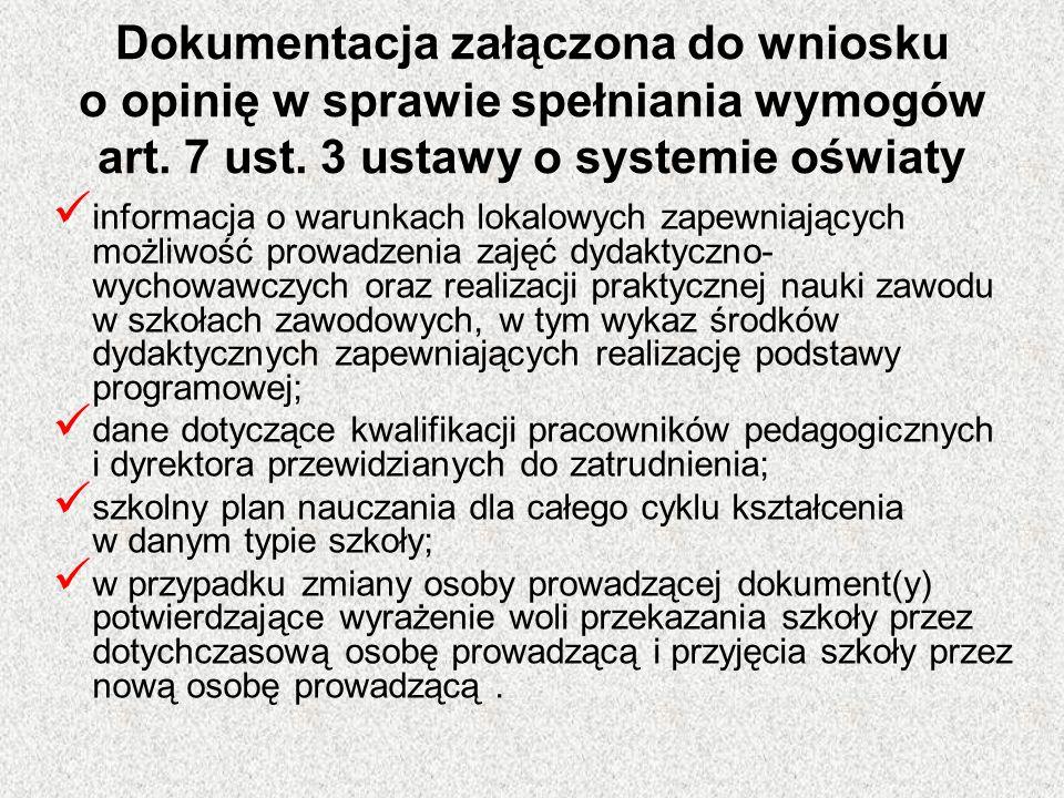Dokumentacja załączona do wniosku o opinię w sprawie spełniania wymogów art. 7 ust. 3 ustawy o systemie oświaty informacja o warunkach lokalowych zape