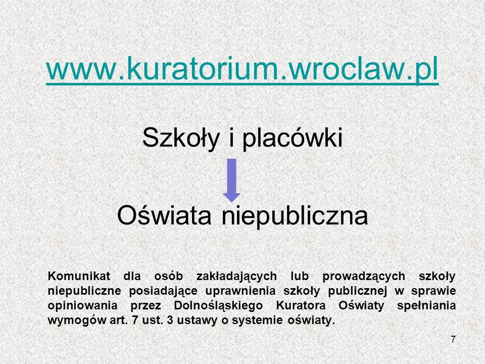 www.kuratorium.wroclaw.pl Szkoły i placówki Oświata niepubliczna Komunikat dla osób zakładających lub prowadzących szkoły niepubliczne posiadające upr