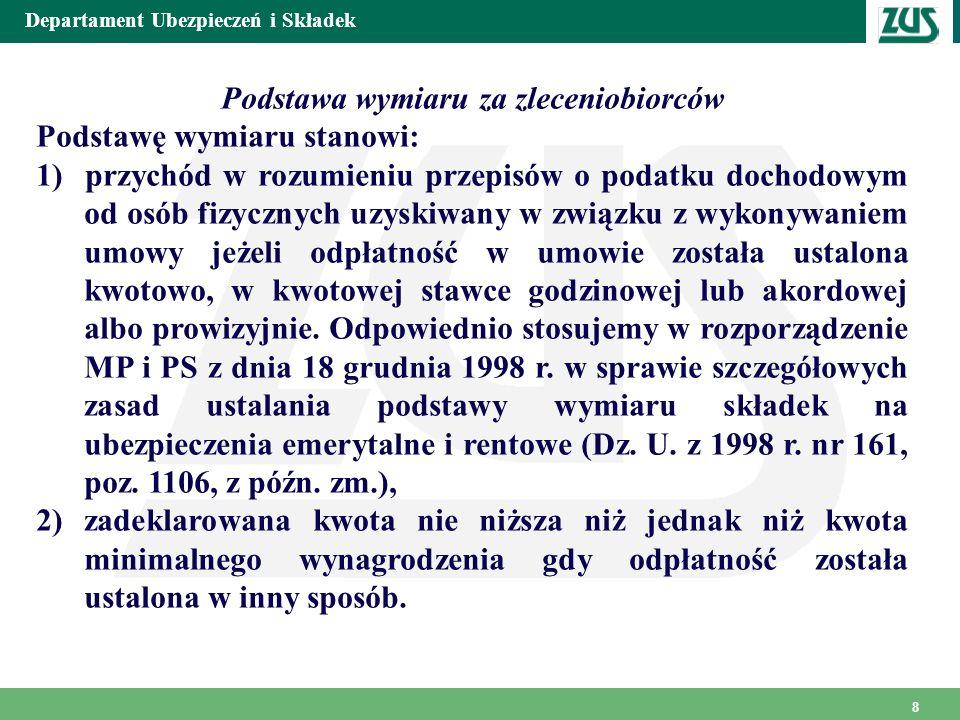 Departament Ubezpieczeń i Składek 9 3) osoby pobierające zasiłek macierzyński Osoba pobierająca zasiłek macierzyński obowiązkowo podlega ubezpieczeniom emerytalnemu i rentowym.