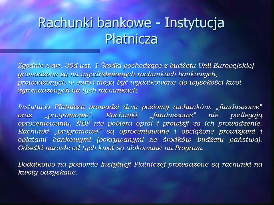 Rachunki bankowe - Instytucja Płatnicza Zgodnie z art. 30d ust. 1 Środki pochodzące z budżetu Unii Europejskiej gromadzone są na wyodrębnionych rachun