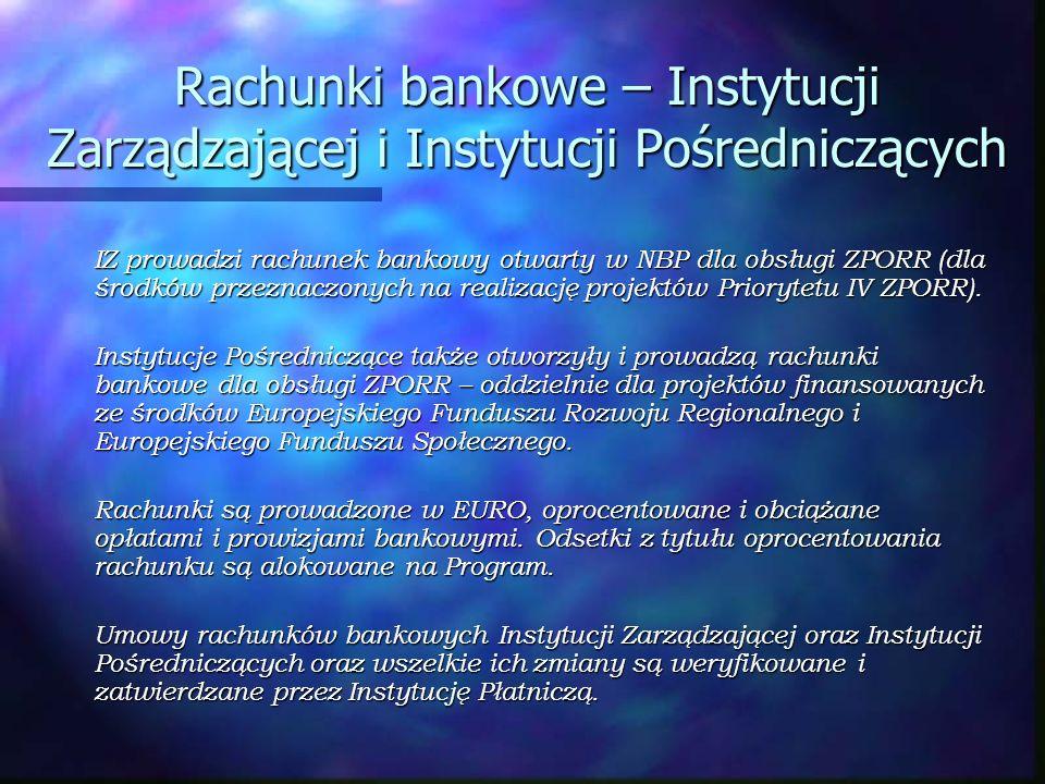 Rachunki bankowe – Instytucji Zarządzającej i Instytucji Pośredniczących IZ prowadzi rachunek bankowy otwarty w NBP dla obsługi ZPORR (dla środków prz