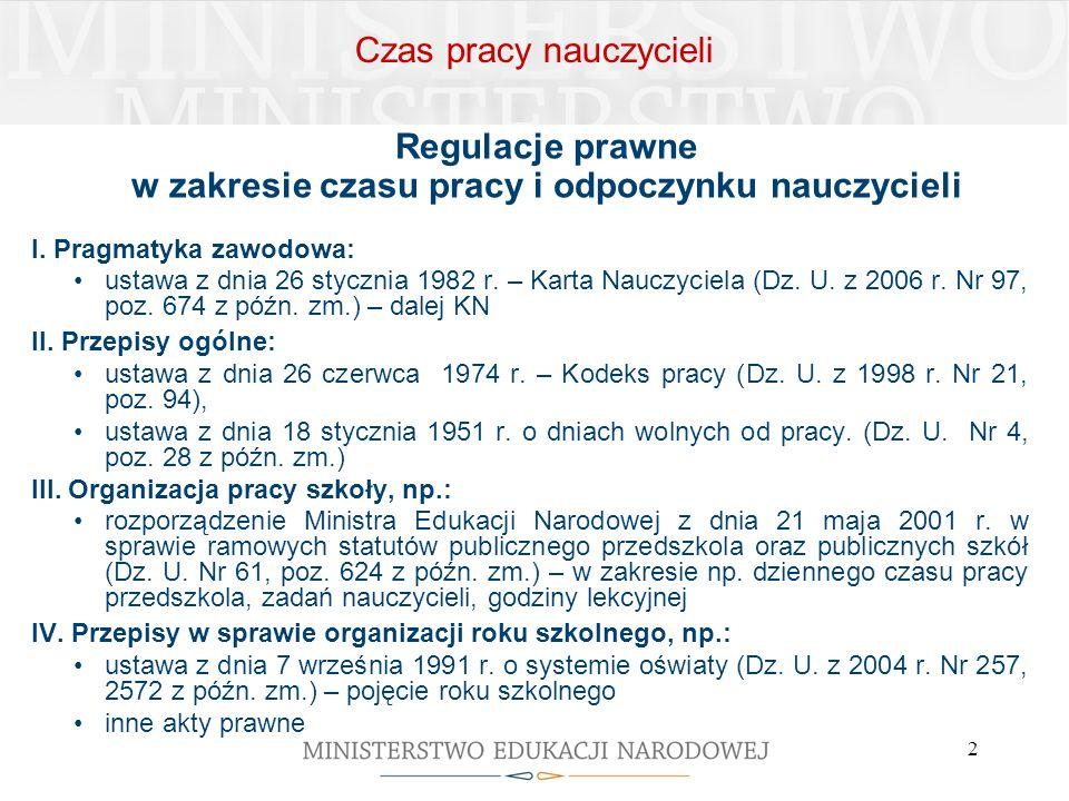 2 I. Pragmatyka zawodowa: ustawa z dnia 26 stycznia 1982 r. – Karta Nauczyciela (Dz. U. z 2006 r. Nr 97, poz. 674 z późn. zm.) – dalej KN II. Przepisy