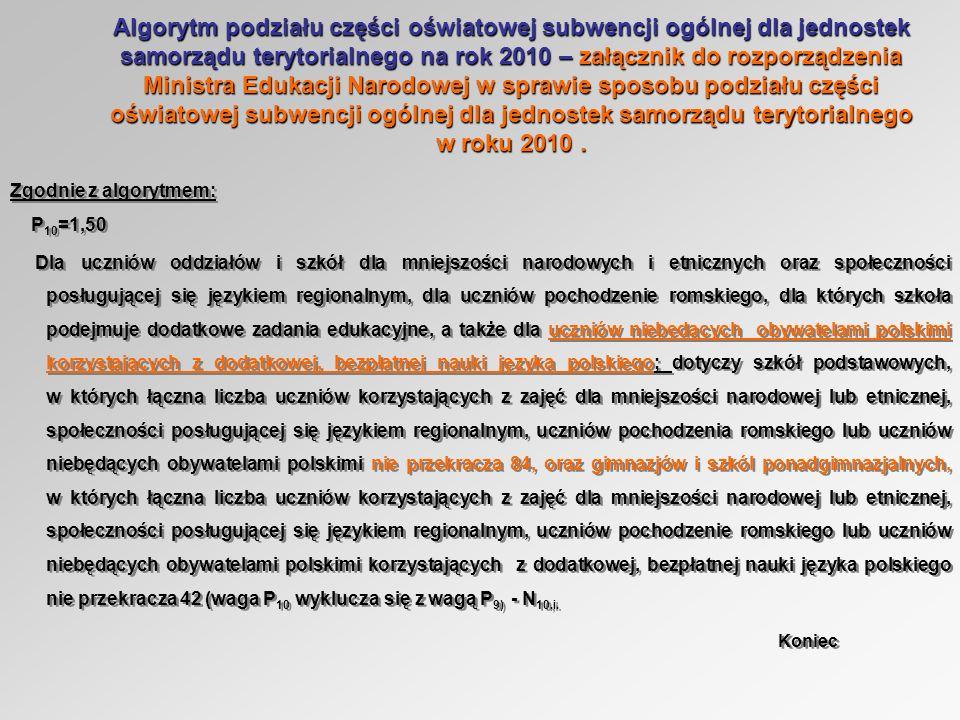 Algorytm podziału części oświatowej subwencji ogólnej dla jednostek samorządu terytorialnego na rok 2010 – załącznik do rozporządzenia Ministra Edukacji Narodowej w sprawie sposobu podziału części oświatowej subwencji ogólnej dla jednostek samorządu terytorialnego w roku 2010.