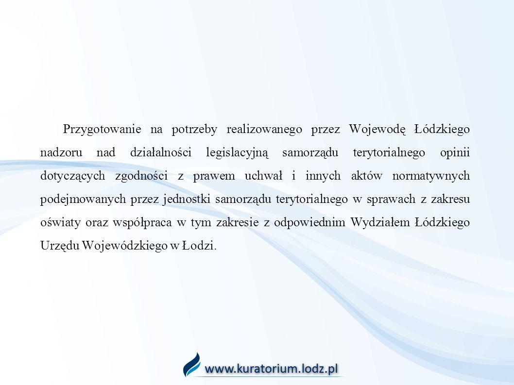 Przygotowanie na potrzeby realizowanego przez Wojewodę Łódzkiego nadzoru nad działalności legislacyjną samorządu terytorialnego opinii dotyczących zgo