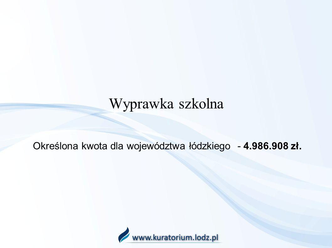 Wyprawka szkolna Określona kwota dla województwa łódzkiego - 4.986.908 zł.
