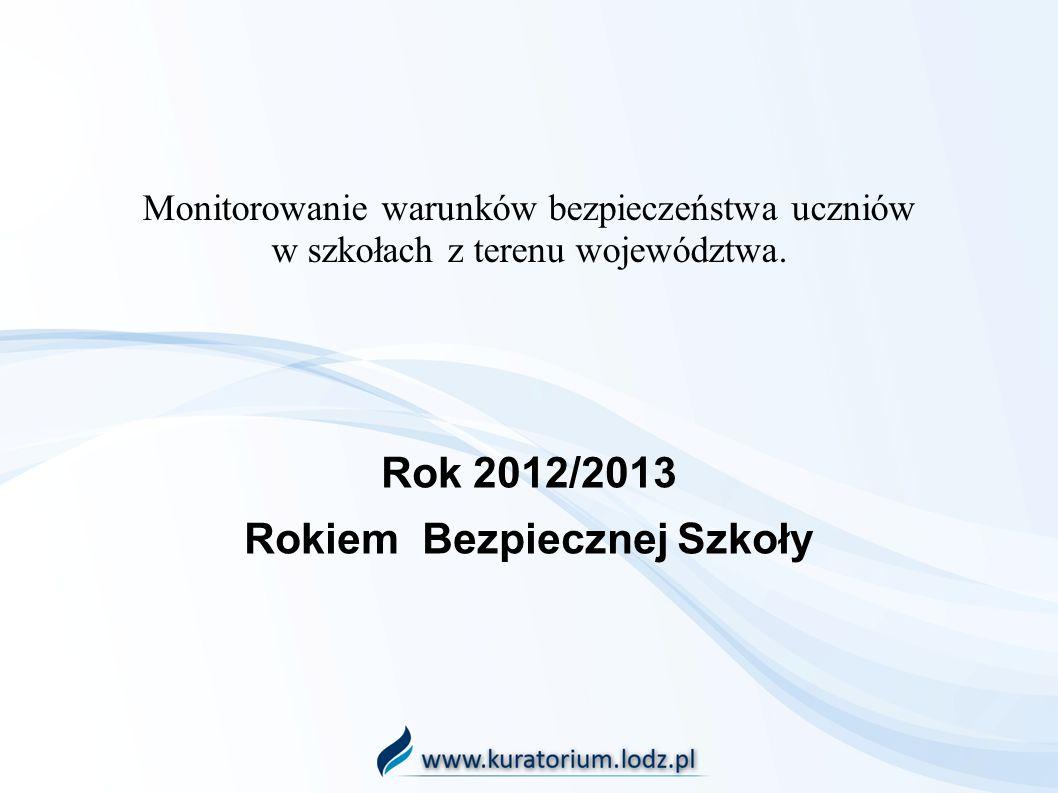 Monitorowanie warunków bezpieczeństwa uczniów w szkołach z terenu województwa. Rok 2012/2013 Rokiem Bezpiecznej Szkoły